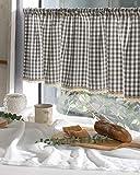 cozymomdeco Cortina de algodón a cuadros para café, cenefas de cocina, cortina de ventana de moda rural europea para el hogar, una pieza 37 (w) x147 (l) cm (gris)