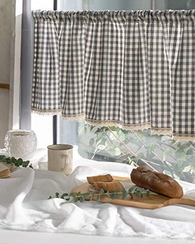 cozymomdeco Cortina de algodón con Encaje a Cuadros, cenefas de Cortina de Cocina, Cortina de Ventana de Moda Rural Europea para el hogar, una Pieza 37 (Ancho) x 147 (Largo) cm