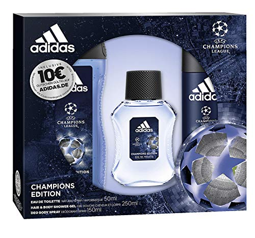 adidas Aroma Juego UEFA League Champions Edition Eau de Toilette 50 ml + Desodorante Spray 150 Ml + Show ergel 250 ml + Voucher, 450 ml