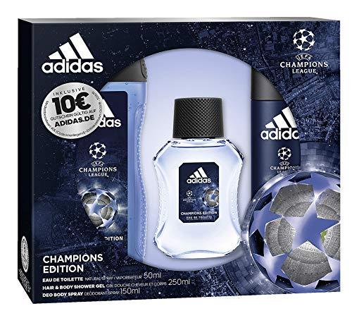 adidas Aroma Juego UEFA League Champions Edition Eau de Toilette 50ml + Desodorante Spray 150Ml + Show ergel 250ml + Voucher, 450ml