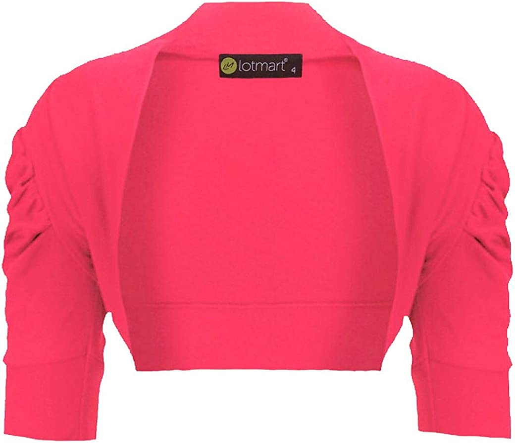 Girls Ruched Sleeve Cropped Bolero Shrug L-1623 in Paradise Pink 7-8 Years