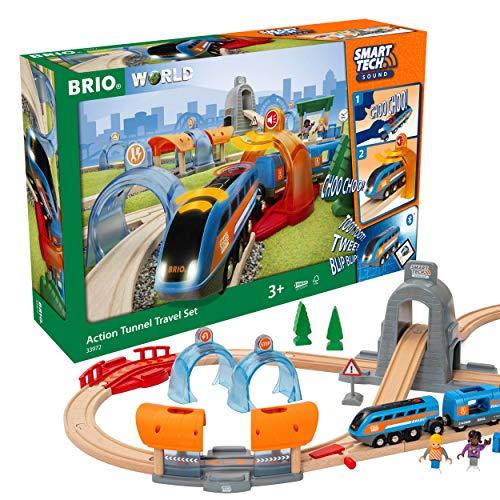 BRIO Eisenbahn Smart Tech Sound Action Tunnel Reisezug Set, Brio World Eisenbahn Zubehör, Holzeisenbahn, Weiß
