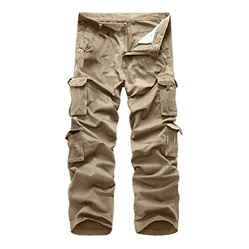Rmine Herren Cargo Hose Baumwolle Cargopants, Khaki, Gr. 36W