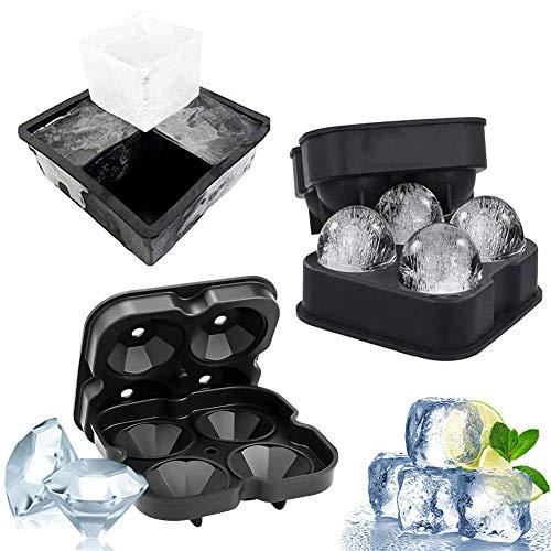 Eiswürfelform, NALCY 3 Stück Eiskugelform, Diamant Eiswürfelschalen, Ice Cube Ball Mold, Eiswürfelbehälter mit Deckel Silikon Eiswürfelform, Ice Cube Trays, für Whisky, Cocktails, Saft, Schokolade