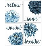Relax, Soak, Unwind, Breathe Navy Blue Tone Bath Flower Poster Prints, Set of 4 (8x10) Unframed Photos, Wall Art Decor Gifts Under 20 for College, Home, College Student, Teacher, Floral Fan