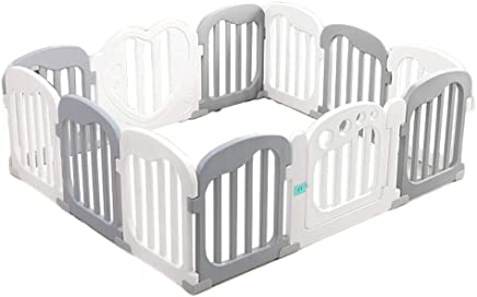 DZWSD Large Toddler Babys for Twin Play Center Panel Play Yard Kids Activity Centre Safety with Lock Door Extra Tall 65cm  colour Gray and white
