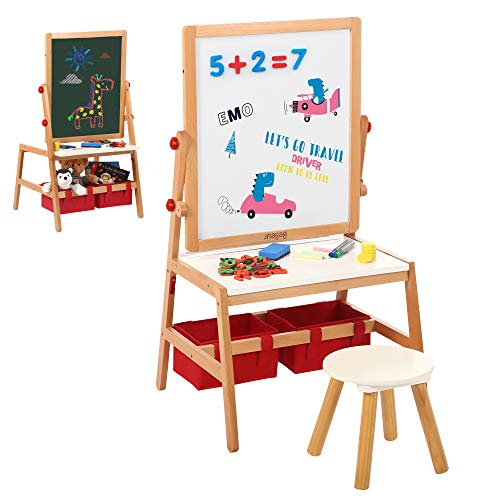 Belleur Kid Easel with 2 Paper Roll, 2 in 1 Wooden Art Easel & Desk with Stool, Flipped Dual-Sided Magnetic Chalkboard & Whiteboard for 3-7 Years Old Child Drawing, Handmade, Homeschooling and More