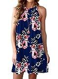 Feiersi Women's Summer Sleepwear Pajama Dress Sleeveless Shift Dress Mini Dress(Floral Navy Blue,X-Small)