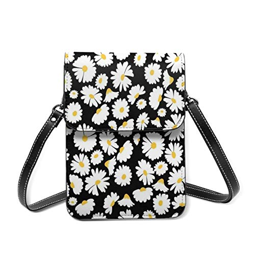 XCNGG bolso del teléfono Aesthetic Crop Daisy Agate Sun Flower Women Lightweight Leather Phone Purse, Small Crossbody Bag Mini Cell Phone Pouch Shoulder Bag,Wallet Purse