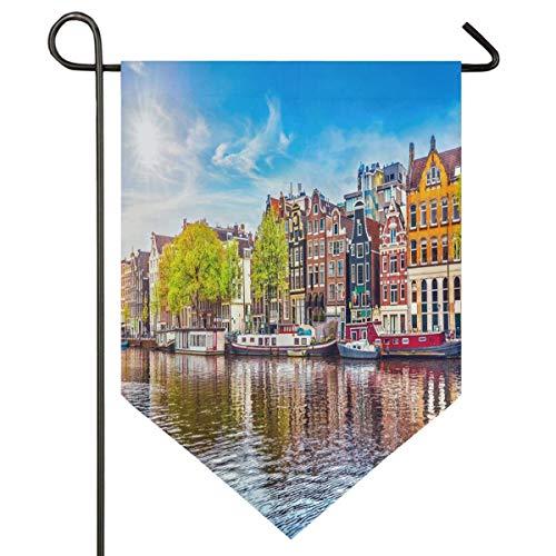 OMNHGFUG Amsterdam Países Bajos Casas sobre el río Amstel Landmark City Primavera Paisaje Jardín Bandera de doble cara Decoración para el hogar Patio Banner al aire libre 30 x 45 cm