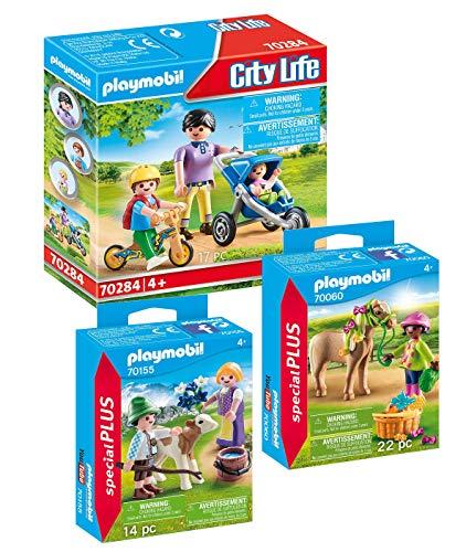 PLAYMOBIL Juego de 3 piezas: 70284 mamá con niños + 70060 niña con pony y 70155 niños con ternera.