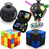 Fidget Sensory Toys Set, 5 Pack Fidget Cube Toys Pack with Exclusive Protective Case Stress Relief Hand Toys for Adults Kids ADHD ADD Anxiety Autism