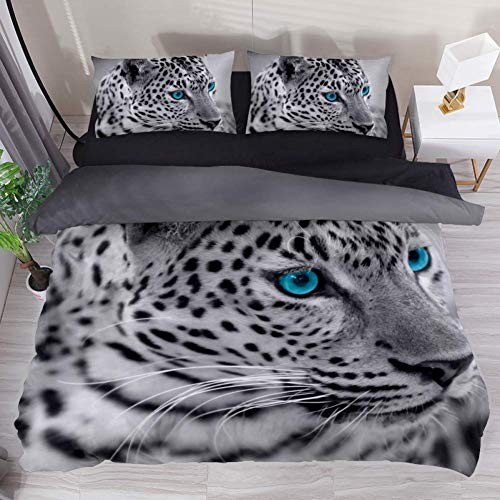 Duvet Cover Set Black and White Jaguar Comforter Bedding Sets Soft 3 Piece California King Size with 2 Pillow Shams Hypoallergenic Soft and Comfortable Zipper