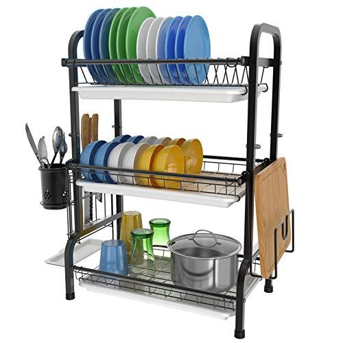 Veckle Abtropfgestell, 3 Etagen, Geschirr-Abtropfgestell, Edelstahl, Geschirr-Abtropfgestell, Utensilienhalter, Schneidebretthalter mit abnehmbarem Ablaufbrett für Küchenarbeitsplatte, schwarz