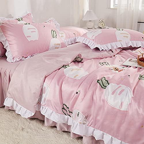 Bedding-LZ Copripiumino Matrimoniale 200x250 Patella,Circondato di Quattro Pezzi Estate Piccola Fragola Fresca Skirt A Cuore Gonna in Acqua Lavaggio dell'Acqua Forniture-K_2,0 M (4 Pezzi)