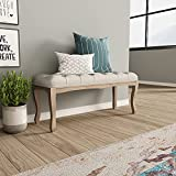 Crestlive Products Upholstered Tufted Bench, Wood Bed Ottoman Middle Century Modern Rectangular Footrest for Bedroom Entryway Channel (Beige)