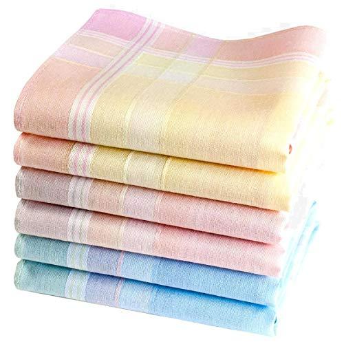 Petits mouchoirs féminins multicolores Elise - 6 unités de 28cm x 28cm
