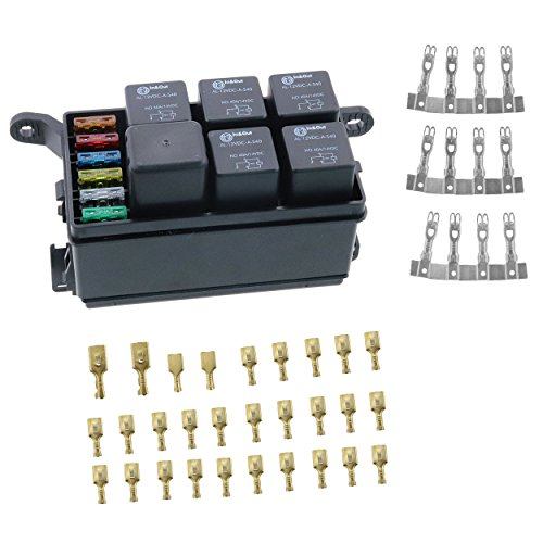 iztor 6 Way Blade Fuse Holder Box,12-Slot Relay Box with Spade Terminals and fuses,6PCS 4Pin 12V 40A relays for car Truck Trailer and Boat