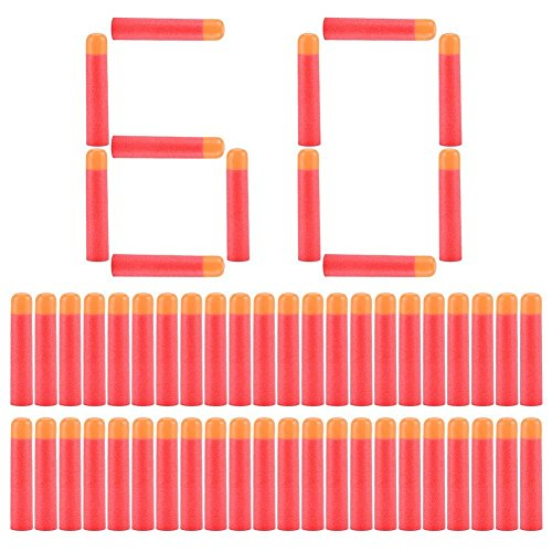 Yosoo 60pz Morbide Dardi Schiuma Freccette Cartucce di Ricambio Proiettili per i Giocatori Bambini di Nerf N-Strike Serie Elite Pistola - Rosso