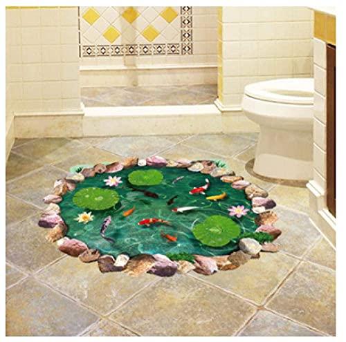 Lotus Pond 3D Pegatinas De Suelo Peces En Agua Pegatinas De Pared Pvc Vinilo Decoración Del Hogar Baño Dormitorio Suelo Decoración Impermeable 88,5X58Cm