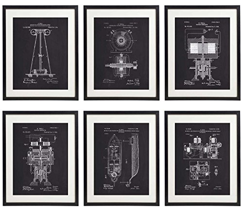 IDIOPIX Tesla Patent Prints Chalkboard Art Print Set of 6 Prints UNFRAMED No.1