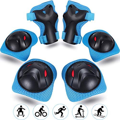 Vimzone Kinder Protektoren Set, 6 in 1 Kinder Knieschoner Ellbogenschützer Handgelenkschützer mit Verstellbarem Gurt für Inlineskaten Rollschuhfahrrad BMX Scooter Street Sports (6 Pack)