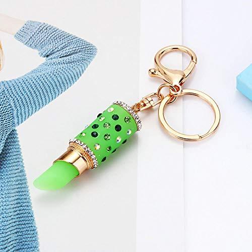 Sinzong Sleutelhanger voor dames, gelei, lippenstift, autosleutelhanger, vrouwelijk tasje, hanger, sleutelhanger groen