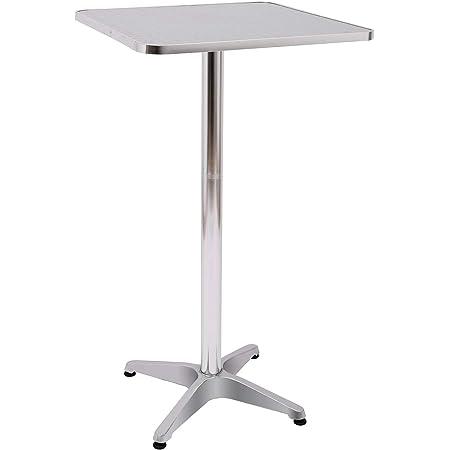HOMCOM Table de Bar Table de Cuisine Salle à Manger Hauteur réglable Plateau INOX