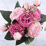 Fleurs artificielles Faux fleurs en soie roses artificielles 5 Big Head et 4 Bud 30Cm Bouquet pivoines pour la maison d'extérieur Office Party Jardin Décoration de mariage (rose et rouge),Natural