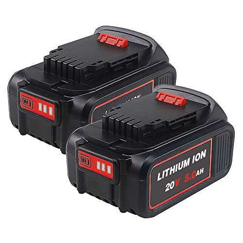 2 Pack 20V 5.0Ah Replacement for Dewalt 20 Volt Lithium Battery, Campatible with Dewalt Max XR DCB205 DCB206 DCB200 DCB201 DCB203 DCB204 DCB205-2 DCD780 DCD785 DCD795 DCF885 DCF895 DCS380 DCS391