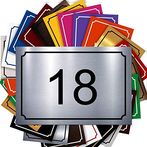 Plaque Numéro De Rue - Numéro De Maison PVC – Plaque Gravée À Personnaliser 15 x 10 cm – 21 Couleurs Disponibles (Gris alu brillant)