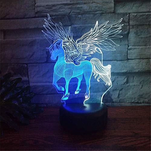 Allamp Norte de Europa Interruptor táctil Pegasus modelo de la ilusión óptica 3D Lámpara de habitación de los niños Escritorio luz de la noche de Visual LED cambio de 7 colores regalos de los niños de