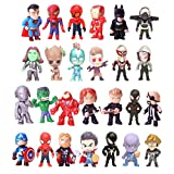 Superhero Mini Action Figures Sets for Kids, Cupcake Figurines for Birthday Party, Party Favors Set, Super Hero Theme Party Supplies (Style A, 26 PCS)