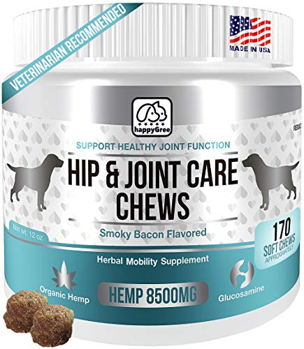 BEST HIP & JOINT SUPPLEMENTS FOR DOGS: Product of USA- Natural Pain Relief & Mobility + Аnti-inflammatory and Аnti-arthritic effects Maximum strength Glucosamine & Chondroitin approx-170 Soft Chews