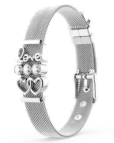THIORA® - Armband mit Charms   Anhänger Charms   Silber   Love Herzchen Diamonds   Geschenk   Mesh Charmband Set Damen (Sparkling Love - Silber)
