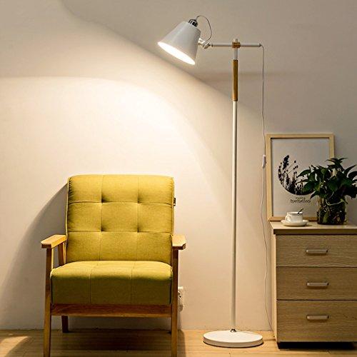 MMM Moderna Sala de estar simple Lámpara de pie Nordic Wooden Art Dormitorio Estudio Personalidad Vertical Luz ( Color : Blanco )