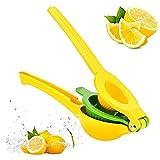 BAKAJI Spremilimone Manuale Spremiagrumi a Pressione da Tavolo 2 Coni Frutta Grande e Piccola Spremi Agrumi Limone Lime Giallo Verde in Alluminio e Acciaio