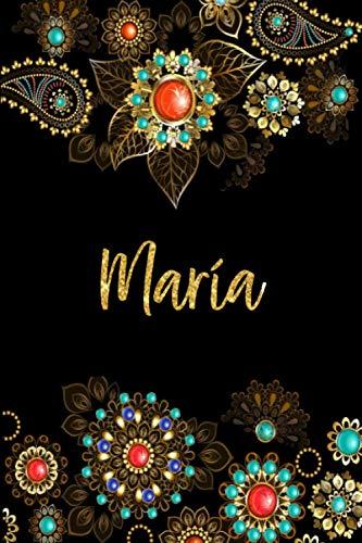 María: Cuaderno de notas Nombre personalizado María, El mejor Regalo de cumpleaños o Navidad o San Valentin o acción de gracias para la esposa, mamá, hermana, hija-Diseño: floral,110 páginas rayadas.