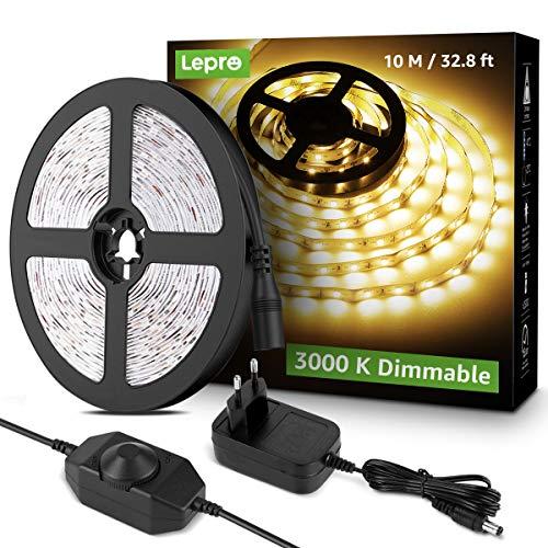 Lepro LED Strip 10M, LED Streifen Lichterkette Warmweiß, Band Lichter, Weiß Dimmbar Lichtleiste Light, Lichtband Leiste, Warmweiss Kette Stripes für Party Weihnachten DIY Deko