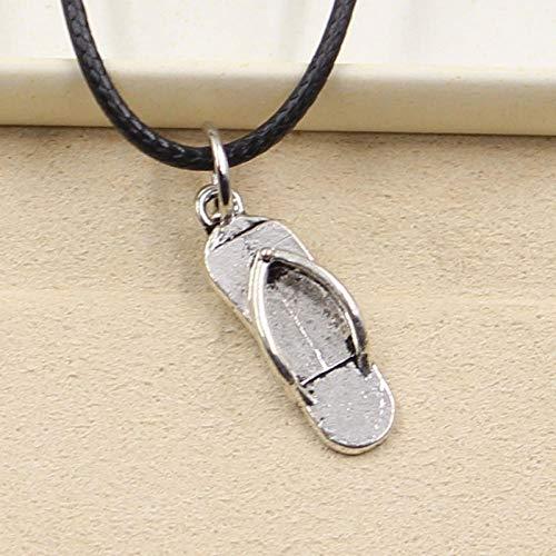 Neue strapazierfähige Schwarze Faux Hausschuhe Hausschuhe Anhänger Seil Halskette Charme DIY tibetische Silber Halskette
