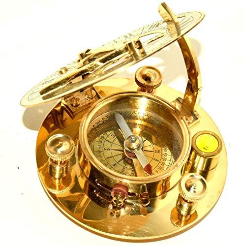 WYJW wandklok, fascinerend, solar-wijzerplaat van messing, met kompas en palet, gegraveerd 3 inch