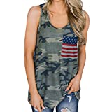 riou Camisetas Camiseta sin Mangas Mujer Tirantes Camuflaje Estampado Cuello Redondo Bandera Nacional Tank Top T Shirt Verano Elegante Moda Blusa Casual Tops