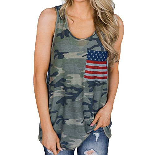 VIMOW Sommer Heißer Cool Damen Damen Camouflage Tops Weste Tank Casual Tägliche Mode Bluse Freizeit Flagge Druck Sleeveless T-Shirt Pullover Pulli(Grün, 44 DE/XL CN)