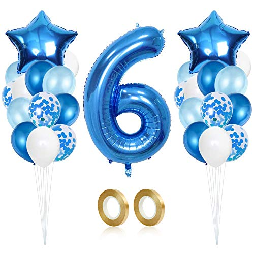 Globo de Cumpleaños 6 año, Globo 6 Año, 6 Cumpleaños Niño, Globo Numero 6 Gigantes, Globo Cumpleaños 6 Año, Fiesta Cumpleaños Party Decoración de Cumpleaños