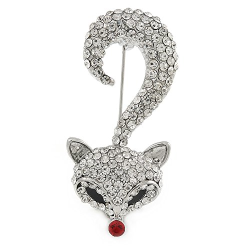 Avalaya Clear Crystal Fox Brooch in Silver Tone Metal - 55mm L