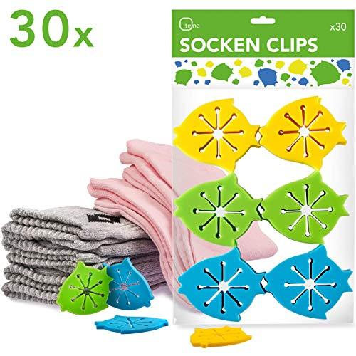itena Socken-Klammern für Waschmaschine und Trockner (30 Stück) | Sockenclips mit Leichter Anbringung | Sockensortierer aus Silikon