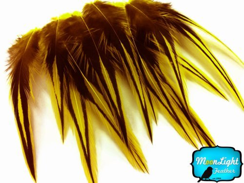 "10 Pieces - 2-4"" Sunshine Yellow Dyed BLW Laced Short Rooster Cape Whiting Farm Feathers Craft Supply 