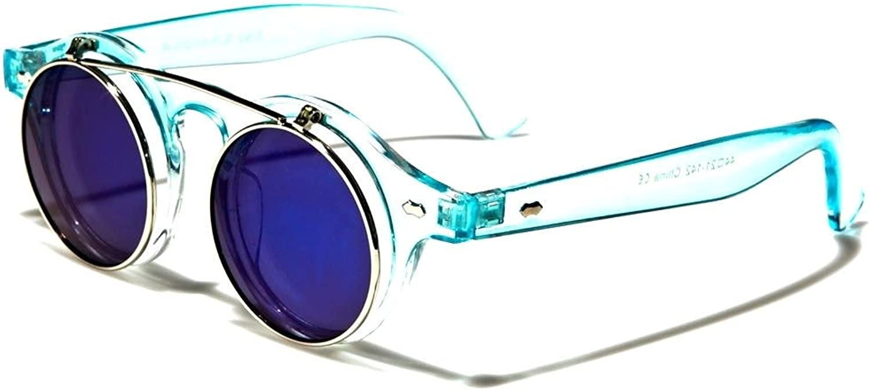 Retro Round Flip Up Steampunk Sunglasses