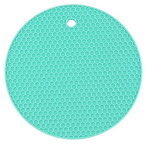 XIAXIAA 2 soportes de silicona para ollas, multiusos, redondos, salvamanteles, abridor de tarros, reposavasos, extra gruesos, verde claro