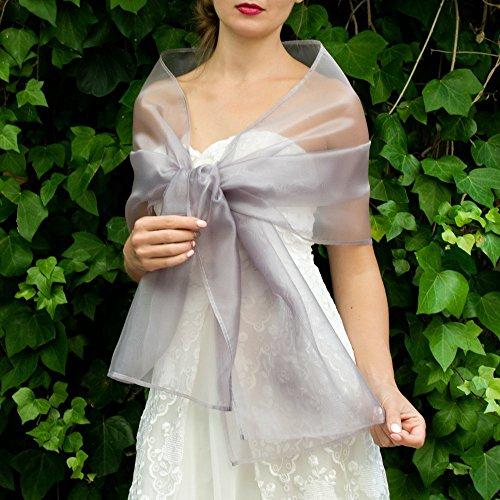 Stole donna organza grigio argento scialli vestito da sposa nuziale poncho bronzo